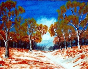 2017 # 40_Winterlandschaft-Acrylic painting-trees-forest-grass-plants-bushes-snow-way-sky-clouds-acrylic painting-Acrylic paintings