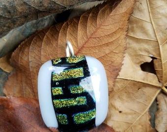 Fused pendant: white with dichro bricks