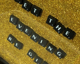 Sparkly 'Let The Evening Be Gin' gold glitter Scrabble tile box frame