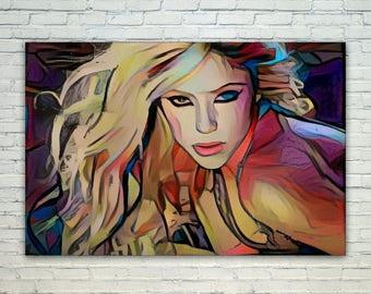 Shakira - Shakira Poster,Shakira  Art,Shakira Print,Shakira Poster,Shakira Merch,Shakira Wall Art,Shakira Fan Art,Modern Abstract Pop Art H
