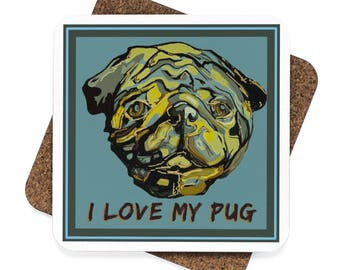 Love My Pug Square Hardboard Coaster Set  4Pcs