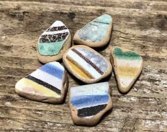 Beach Pottery * 6 Sea Pottery Pieces * Striped Terracotta * Italian Pottery Mosaics Home Decor * Natural Craft Supply * Beach Shards Mix