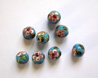 Round 10 mm cloisonné bead