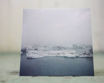 Art Landscape of Iceland Glaciers Blank Card 5X5in