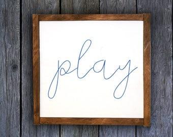 Play Sign   Playroom Wall Decor   Playroom Art   Kids Playroom Ideas      Nursery Wall Art   Nursery Art    Kids Wall Art    Playroom Sign