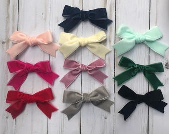Hand tied velvet ribbon hair bow, baby headband, nylon headband, alligator clip