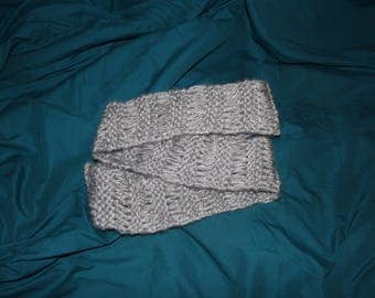Hand Knitted Infinity Scarf - Gray Loop