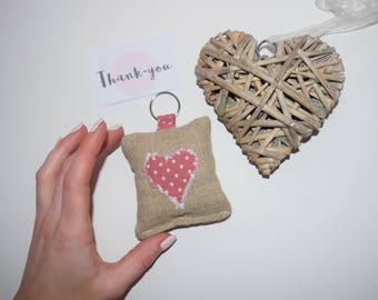 Hessian Heart Key Ring Key Chain Handmade Sewn Friendship Gift Valentine's New Home Cushion Fob Chain Decoration Wedding Favour