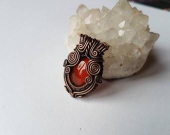 Red Carnelian wire weaved spiral pendant
