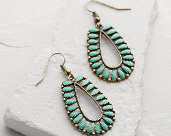 Statement Aqua Antique look Bohemian Earrings