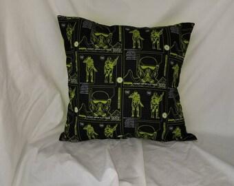 Death Trooper Accent Pillow Cover, Star Wars Pillow, Geek Gift, Sci Fi Gift, Nerd gift, Storm Trooper, Black throw pillow, Green pillow