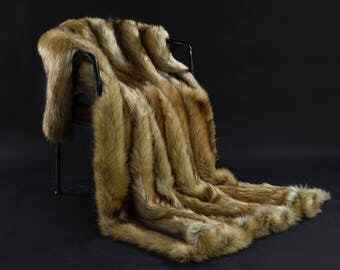 Brown Faux Fur Weight Blanket - Asiatic Raccoon, Weight Blanket, Throw Blanket, Faux Fur Throw