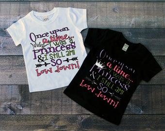 Children's Tee Shirt, Once Upon A Time I Was A Princess, Fairytale T-Shirt, Black or White Tee, Infants, Toddler, Youth, Girl Shirt