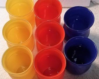 8 Vintage 1950's Orange, Yellow & Blue. Juice Glasses