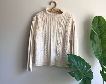 Vintage White Oversized LL Bean Cableknit Sweater Size Medium Rolled Mock Collar