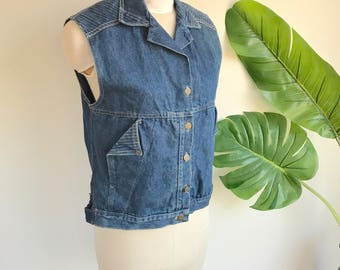 Vintage Women's 80's Denim Vest Size Medium by Chic Sunset Blues