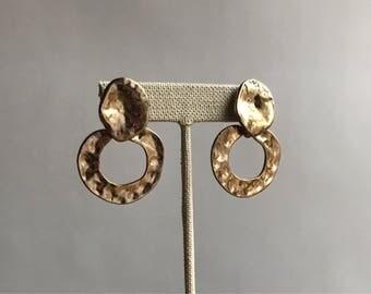 Vintage 80's Hammered Gold Tone Hoop Earrings