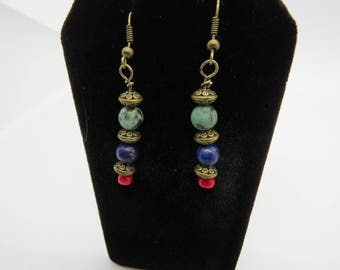 Blue Lapis Lazuli and Green African Turquoise Earrings