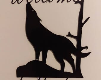 wolf metal welcome sign