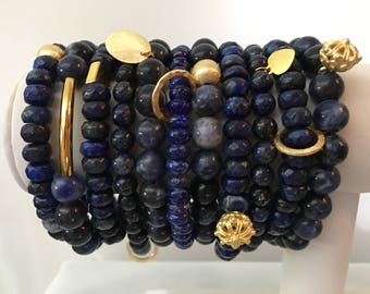 Lapis Stackable Bracelets with Gold Charm - Natural Stone