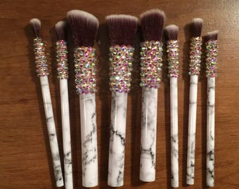 10pc Crystallized Marble Bling Makeup Brushes
