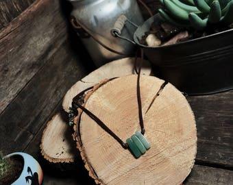 Dark to Light 3 Aventurine Stone Pendant with Leather strand