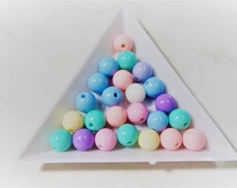 8mm Kawaii Pastel Beads, Candy Color Beads, Kawaii Beads, Mixed Lots Beads, Pastel Beads, Round Beads, Candy Color Beads, Set of 100 Beads