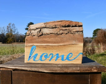 Live edge red oak 'home' painted sign