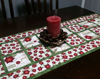 Quilted Poinsettia Table Runner