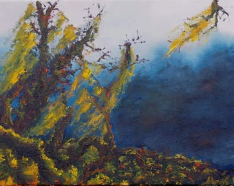 Original Oil Painting on canvas abstract landscape trees
