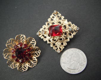 Vintage Pair of Goldtone Filigree Brooches with red stone