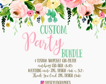 custom party bundle, custom snapchat geofilter, custom party invites, custom geosign, birthday bundle