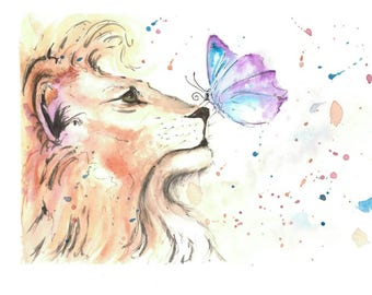 Watercolour print 'Lion and the Butterfly'