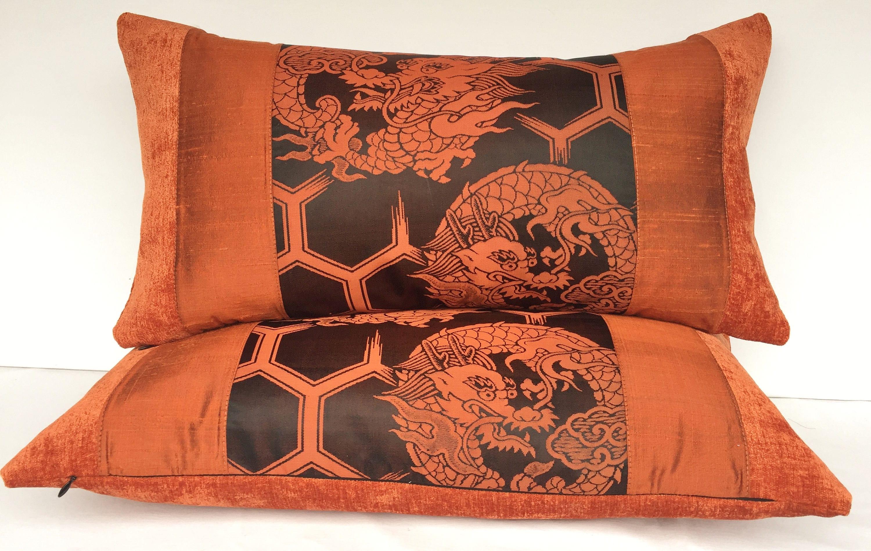 Luxury decorative pillows made using a dragon Japanese silk Obi ...