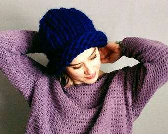 Relaxed-Fit Soft Wool Hand-Knit Hat