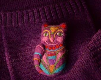 """Felted brooch """"Fabulous cat"""""""