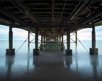 Under the Pier - Teignmouth, Devon, UK. Seascape Photographic Print.
