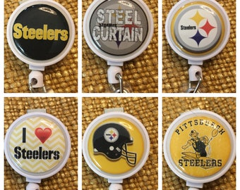 Pittsburgh ID Badge Name Tag Holder Retractable Reel