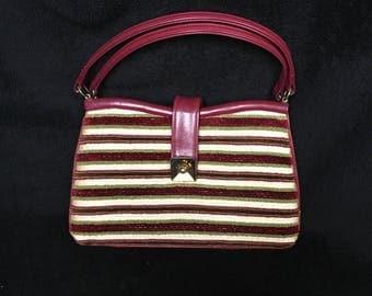 Vintage 1960s 1970s Carpet Bag Striped Stylecraft Miami Handbag Purse