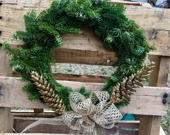 Maine Balsam Fir Wreath - Green and Gold