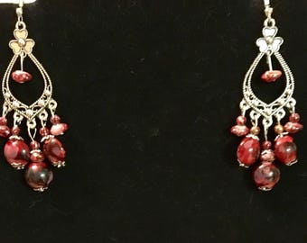 Silver red beaded dangle earrings