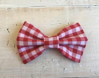 Red Gingham Check Dog Bow Tie