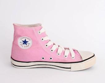 EU 37 - pink Converse All Star canvas shoes - hi top Chuckies size uk 4.5 / US men 4.5 + womens 6.5 - girls chuck taylor allstars sneakers