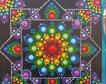 Rainbow Mandala on 10 x 10 canvas