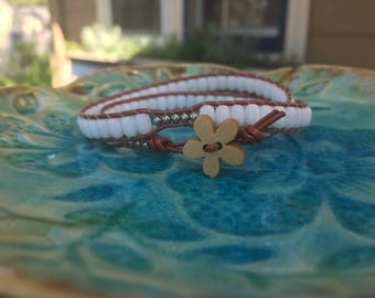 White & Copper 2Wrap Bracelet