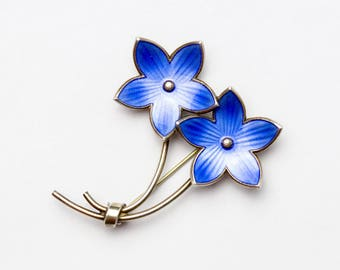 Sterling Silver Enameled Ivar T Holth Blue Flower Pin from Norway