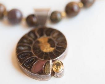 Ammonite Fossil Pendent Necklace