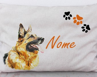"""Kennel, personalized pillow """"German Shepherd"""" handmade for dog. Available in all sizes. Made in Italy."""