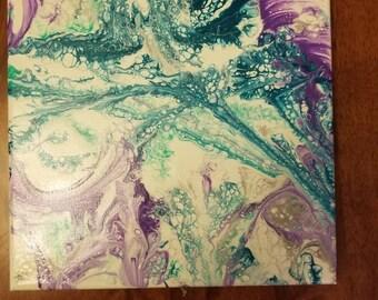 "10""x10"" acrylic painting, string art"
