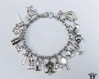 Beauty and the Beast Fairy Tale Inspired Silver Plated Charm Bracelet